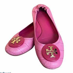 Tory Burch pink reva croc embossed ballet flats
